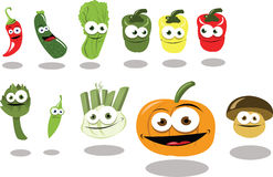 Funny Group of Vegetables part 2. A group of vegetables, every object is singly grouped Royalty Free Stock Images