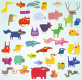 Funny Grunge Doodled Animals Collection in pop-art colors Royalty Free Stock Photo
