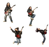 Funny guitar player isolated on white Royalty Free Stock Photos