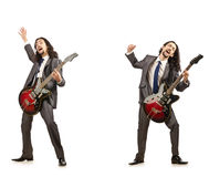 Funny guitar player isolated on white Stock Images