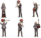 Funny guitar player isolated on white Royalty Free Stock Photo