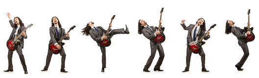Funny guitar player isolated on white Stock Photography