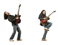 Funny guitar player isolated on white Royalty Free Stock Image