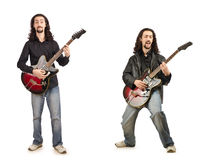 Funny guitar player isolated on white Stock Photos
