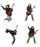 The funny guitar player isolated on white Stock Image
