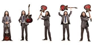 The funny guitar player isolated on white Stock Photography