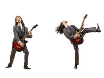 The funny guitar player isolated on white Stock Photos