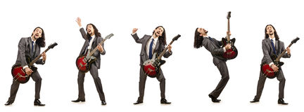 The funny guitar player isolated on white Royalty Free Stock Photos