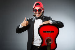 Funny guitar player Royalty Free Stock Photo