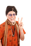 Funny Guru Making Peace Sign Royalty Free Stock Images