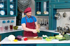 Funny guy in apron and cap cutting green zucchini. Chef cooking zucchini in hands Stock Image