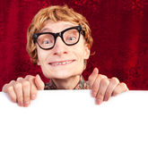 Funny guy with blank card Stock Photography