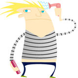 Funny guy with blowdryer and comb. Illustration of a funny guy drying his hair with a blowdryer on an isolated background, ready for a night on the town Royalty Free Stock Photography
