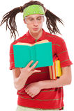 Funny guy with books Royalty Free Stock Photography