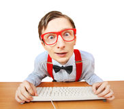 Funny guy browsing internet Royalty Free Stock Images