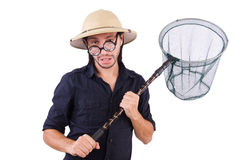 Funny guy with catching net Royalty Free Stock Images