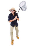 Funny guy with catching net Stock Photography