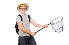 Funny guy with catching net Stock Image