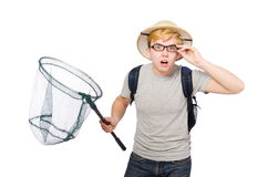 Funny guy with catching net Royalty Free Stock Photo