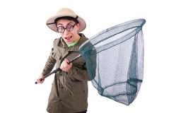 Funny guy with catching net Royalty Free Stock Image