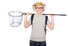 Funny guy with catching net Stock Photo