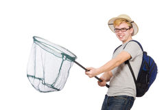 Funny guy with catching net. On white Stock Photo