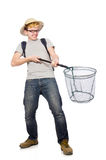 Funny guy with catching net. On white Royalty Free Stock Image