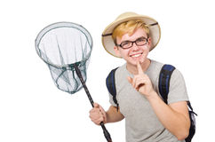 Funny guy with catching net Stock Images