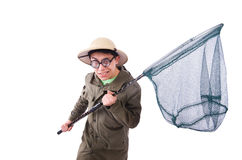 Funny guy with catching net Stock Photos