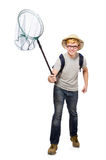 Funny guy with catching net Royalty Free Stock Photography