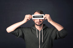 Funny guy with censored sign paper Royalty Free Stock Image