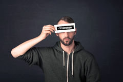 Funny guy with censored sign paper Royalty Free Stock Photo