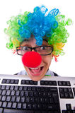 Funny guy with clown wig Royalty Free Stock Photo
