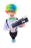 Funny guy with clown wig Royalty Free Stock Photography
