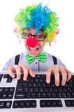 Funny guy with clown wig Royalty Free Stock Photos