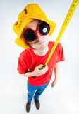 Funny guy dressed crazy holding a measuring tape. Funny guy dressed colorful and crazy holding a measuring tape Stock Image