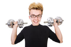 Funny guy with dumbbels Stock Photography