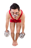 Funny guy with dumbbels Royalty Free Stock Photo