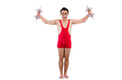 Funny guy with dumbbels Royalty Free Stock Image