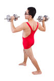Funny guy with dumbbels Royalty Free Stock Images