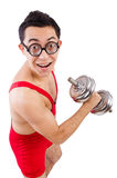Funny guy with dumbbels Stock Photo