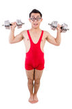 Funny guy with dumbbels Royalty Free Stock Photography