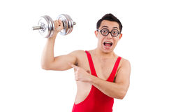 Funny guy with dumbbels Stock Image