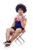 Funny guy with dumbbels Stock Images