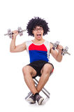 Funny guy with dumbbels Royalty Free Stock Photos