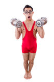 Funny guy with dumbbels Stock Photos