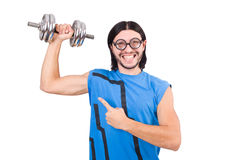 The funny guy with dumbbels on white Stock Images
