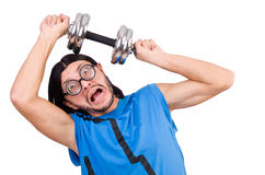 The funny guy with dumbbels on white Royalty Free Stock Images