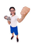The funny guy with dumbbels on white Stock Photography