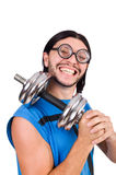 The funny guy with dumbbels on white Stock Image